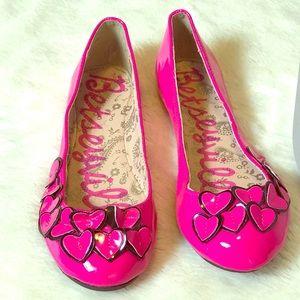 Betseyville Bright Pink Heart Appliqué Flats